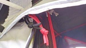 ケシュアのテント2SECONDS EASYのジッパー画像